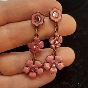 VTG Pink Enamel Rhinestone Dangle Flower Posts